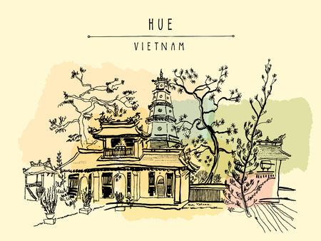 Hue, Vietnam, Southeast Asia. Thien Mu pagoda. Historic temple. Religious building. Former imperial capital's unofficial symbol. Artistic freehand drawing. Vintage postcard or poster in vector