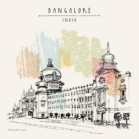 Illustration pour Bangalore (Bengaluru), Karnataka, India. Building in Neo-Dravidian style. Travel sketch. Vintage hand drawn postcard template. Vector - image libre de droit