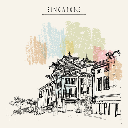Illustration for Singapore China town drawing. Vintage travel postcard or poster with hand lettering - Royalty Free Image