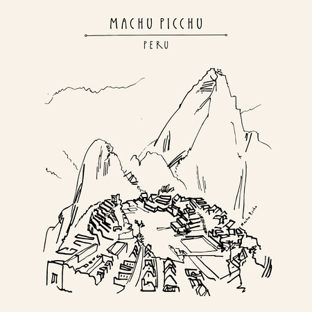 Illustration pour Stunning view of Machu Picchu, Peru. Famous Inca town in the Andes mountains. Vintage artistic hand drawn postcard, poster template, book illustration in vector - image libre de droit