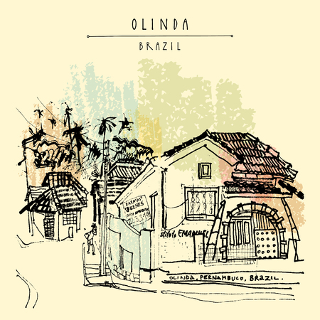 Illustration pour A colonial house Olinda, Brazil, South America. Hand drawn vintage postcard. Vector illustration - image libre de droit
