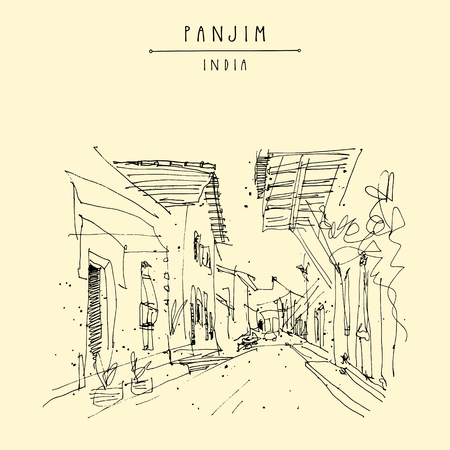 Illustration for Panjim, India. Street in old town. Portuguese colonial style buildings.  Hand drawn cityscape. Quick travel sketch. Vintage artistic postcard, poster template. Vector illustration - Royalty Free Image