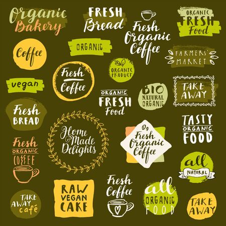 Illustration pour Bio organic labels set. Fresh Bread Bakery. Fresh coffee emblems. Food and drinks for healthy life on quarantine. Fresh organic take away labels collection. Logo templates. Calligraphic badges. Vector - image libre de droit