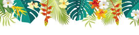Illustration pour Tropical leaves and flowers border. Summer floral decoration. Horizontal summertime banner. Bright jungle background. Bright colors. Caribean beach party backdrop - image libre de droit