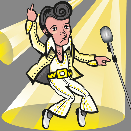 Illustration pour This illustration represents the singer Elvis Presley the pelvis, with his white suit. The file is an eps 8, no transparency used, gradient used in the background and in the microphone. Everything is grouped and divided into different layers - image libre de droit