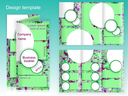 vector green marbled business booklet. Vector illustration