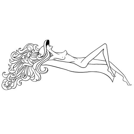 Sunbathing girl. Black and white naked girl. Summer girl. Naked girl in hat. Beautiful girl with long hair. Thin naked girl. Girl sunbathing on the beach.