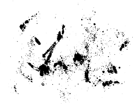 Black silhouette spot with droplets, smudges, stains, splashes. Ink blot in grunge style. Vector illustration