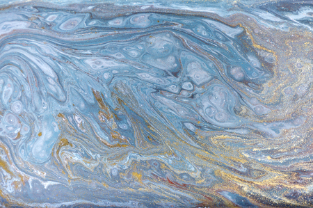 Photo pour Marble abstract acrylic background. Nature blue marbling artwork texture. Gold glitter. - image libre de droit