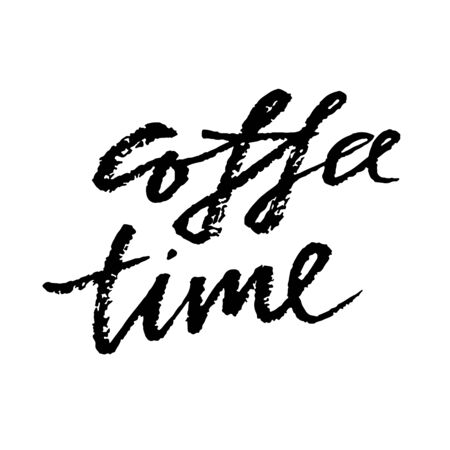 Illustration pour Coffee time. Modern dry brush lettering. Calligraphy poster. Vector illustration. - image libre de droit