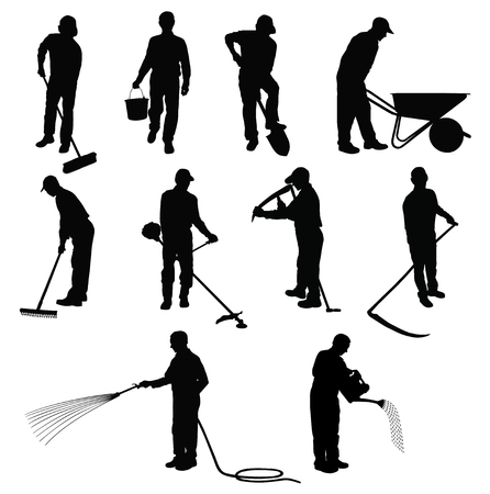Ilustración de Silhouettes of men working in garden with different instruments. - Imagen libre de derechos