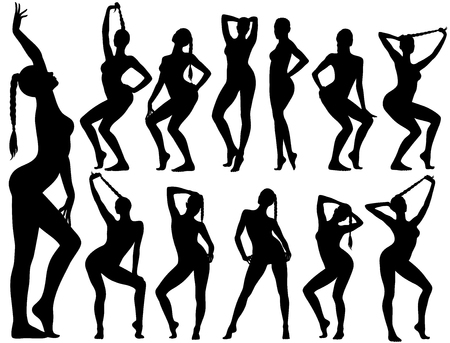 Illustration pour Silhouettes of pinup girls sitting in sexy poses. - image libre de droit