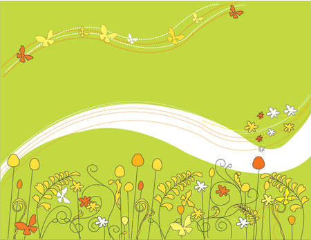 feild with flowers and butterflies