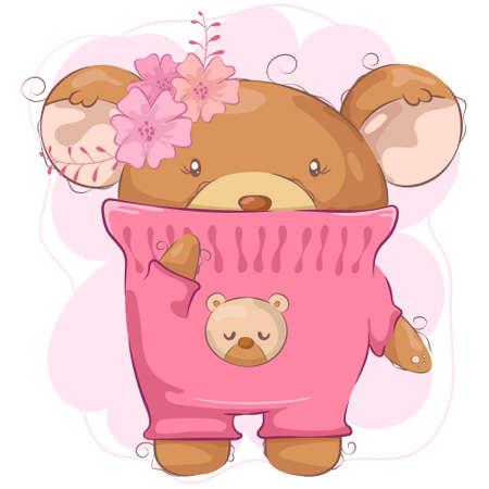 Ilustración de Cartoon cute bear girl with flower - Imagen libre de derechos