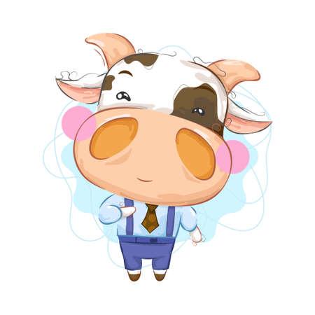 Photo pour Cute little cow with elegant clothing - image libre de droit