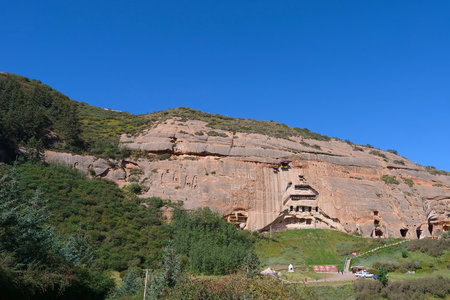 Beautiful landscape view of Mati Temple in Zhangye Gansu China.