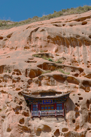 Beautiful landscape view of Thousand Buddha Caves in Mati Temple, Zhangye Gansu China.