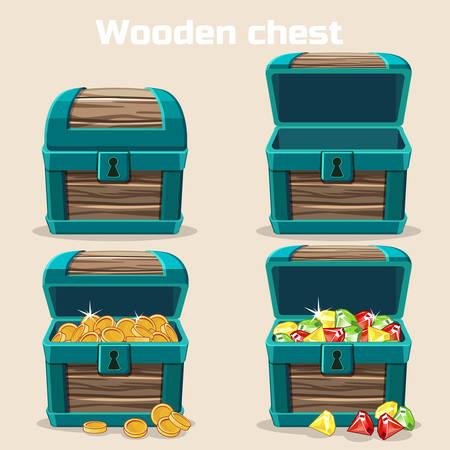 Illustration pour Opened and closed antique treasure chest. Vector illustration. - image libre de droit