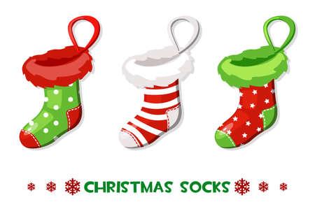 Ilustración de Vector Cartoon Christmas socks, New Year symbols - Imagen libre de derechos