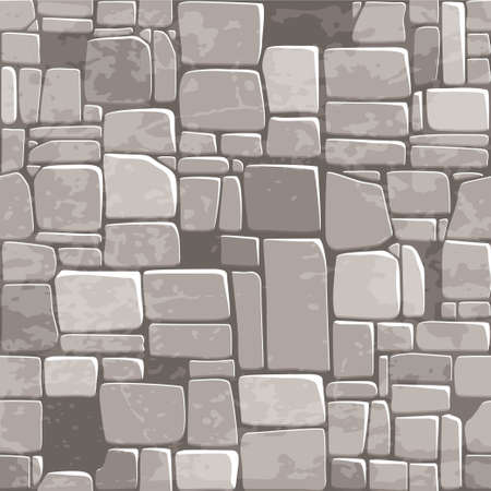 Illustration for view from above seamless background texture grey stone wall. Vector illustration For Ui Game element - Royalty Free Image