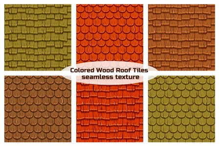 Ilustración de Cartoon wooden old roofing Roof Tiles Seamless Background, collection texture - Imagen libre de derechos
