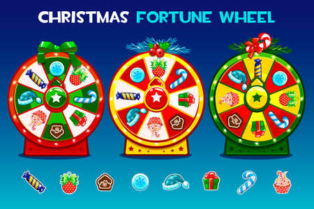 Cartoon Three christmas roulette options. Holiday icons, vector Game assets, GUI active, UI icon