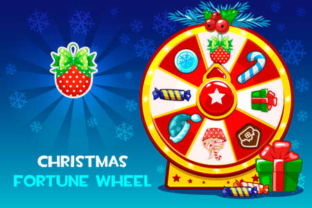 Cartoon Christmas lucky roulette, spinning fortune wheel. Vector holiday symbols icons. Game assets, GUI active
