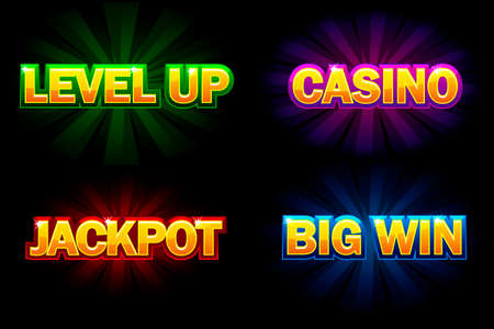 Illustration pour Vector shining text Casino, Jackpot, Big Win and level Up. Icons for casino, slots, roulette and game UI - image libre de droit