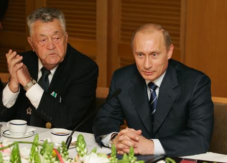 Jerusalem, israel - April 28,2005: The president of Russia Vladimir Putin at a meeting with veterans Great Patriotic War