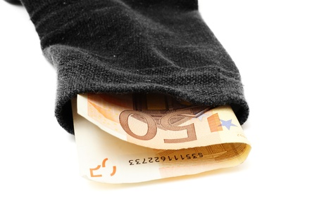 deposit security concept with money in sock