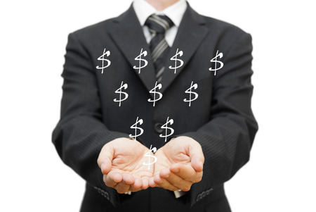 Charity concept  The open hands of businessman receiving dollar sign