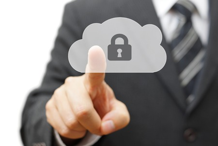 Safe cloud and online remote data. businessman pressing cloud icon