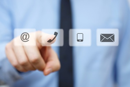 Photo for businessman pressing phone button, company identification icons - Royalty Free Image