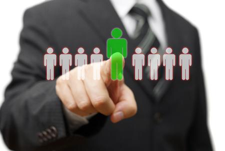 Foto de businessman choosing right partner from many candidates - Imagen libre de derechos