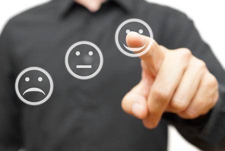 Photo pour man is choosing happy,positive smile icon, concept of satisfaction and improvment - image libre de droit
