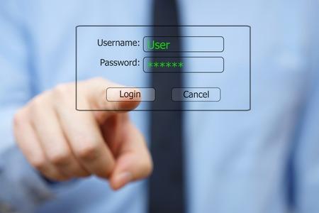 system Engineer pushing logon  button on virtual display