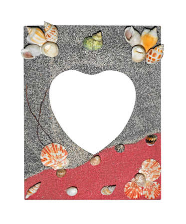 Closeup Colorful Picture Frame Heart Shape Space with Shell on Edging