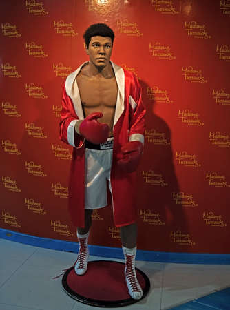 BANGKOK, THAILAND - February 13, 2018 : Wax statue of Muhammad Ali from Madame Tussauds Exhibited at Siam Paragon Shopping Mall.