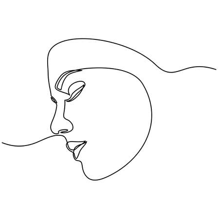 Foto per Continuous line drawing of Portrait of a Beautiful Womans set faces. The Concept of Skin Beauty Care for young female models. Fashion beauty model with a white background - Immagine Royalty Free