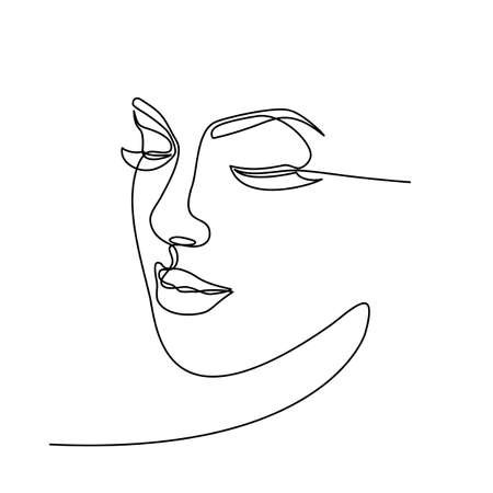 Foto per Continuous line drawing of Portrait of a Beautiful Woman's set faces. The Concept of Skin Beauty Care for young female models. Fashion beauty model with a white background. Vector illustration - Immagine Royalty Free