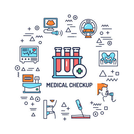 Illustration for Medical checkup web banner. Infographics with linear icons on white background. Creative idea concept. Isolated outline color illustration. - Royalty Free Image