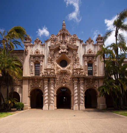 Detail of the carvings on the Casa de Balboa building in Balboa Park in San Diego