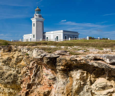 Los Morillos lighthouse on south west corner of Puerto Rico near Cabo Rojo