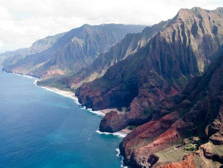 Aerial image of the inaccessible coast of Na Pali in Kauai