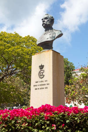 Statue and bust of King Christian IX in Emancipation Park Charlotte Amalie St Thomas