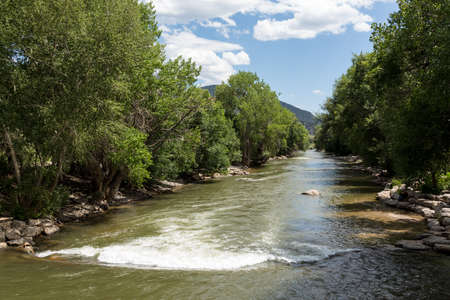 View down Arkansas River near Salida in Colorado