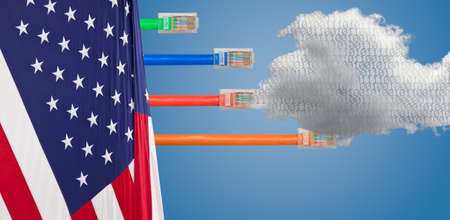 Photo pour cables emerge with different lengths from US Flag to illustrate Net Neutrality debate in Congress - image libre de droit
