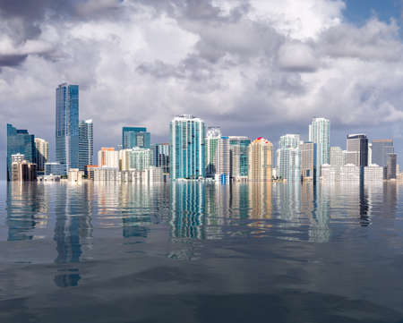 Photo pour Miami Florida cityscape skyline with concept of sea level rise and major flooding from warming or hurricane damage - image libre de droit