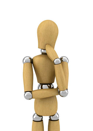 Wooden mannequin contemplating in front of white background