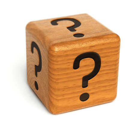 Wooden dice with question marks on it over white background